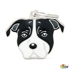 Show details for White and Black American Staffordshire Terrier Dog Tag Free engraving  www.myfamily.it
