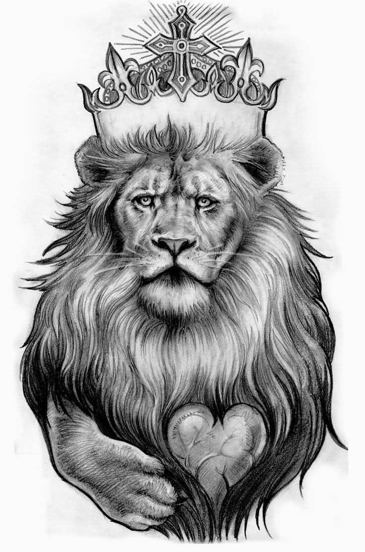 Grey Ink King Leo With Heart Tattoo Design