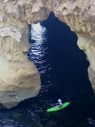 Exploring La Jolla Sea Caves in a Kayak; San  Diego, CA.