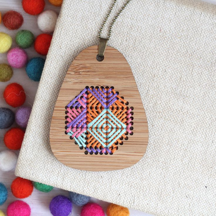 Psychedelic / Bamboo Embroidered Necklace Kit / Modern Embroidery Kit / DIY Wearable Weaving Kit by ClementineAndThread on Etsy