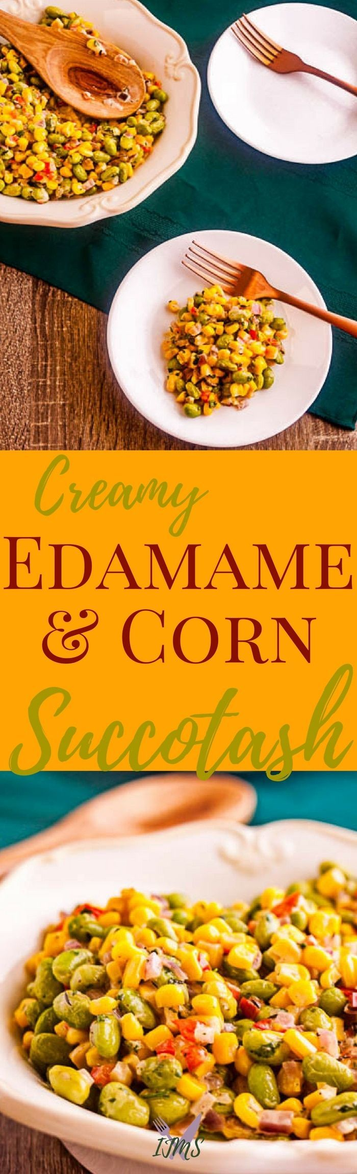 A vibrant and updated creamy edamame and corn succotash is easy to make. Consider serving this dish with the rest of your holiday spread. via @ijustmakesandwi