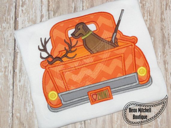 Hunting truck applique embroidery design by BeauMitchellBoutique, $5.00