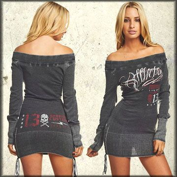 Rock Rebel Clothing - Affliction American Customs Hectic Skull Off Shoulder Lace Up Womens Long Sleeve Sweater Mini Dress or Top in Black Lava Wash