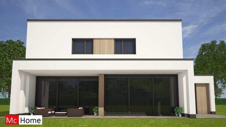 Mc-Home.nl M121 moderne kubistische woning met overdekt terras en veel glas…