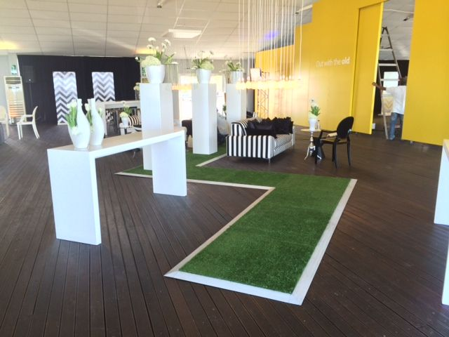 Irregular shaped Astroturf floor for MTN party - for Red Hot