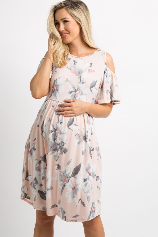 Light Pink Floral Cold Shoulder Bell Sleeve Maternity Dress in 2019 ... 89faca890