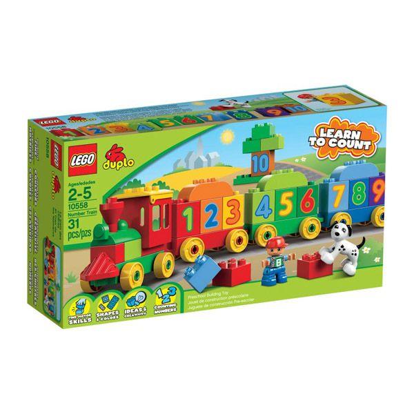 Lego Duplo - El Tren de los Numeros;  ¡Móntate en el tren de los números, en el que aprender a contar nunca fue tan divertido! Los bloques numerados y sus 3 vagones permiten a los constructores más jóvenes aprender matemáticas mientras se divierten. Incluye figuras LEGO DUPLO de un niño y un perro... En   http://www.opirata.com/lego-duplo-tren-numeros-p-25896.html