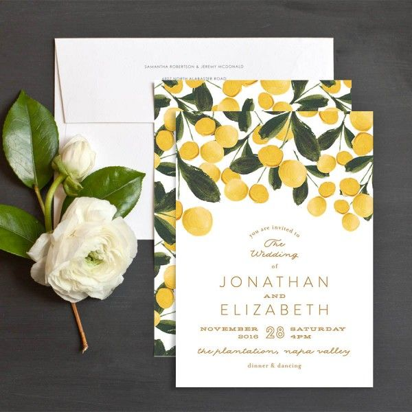 Brushed Garden Wedding Invitations by Phrosné Ras | Elli