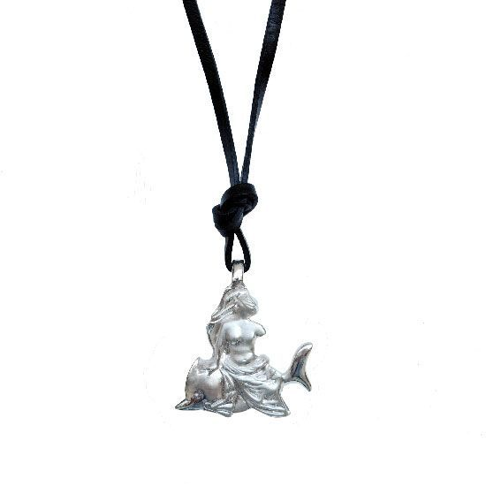 Cupid and Psyche | Aphrodite on a dolphin, silver pendant