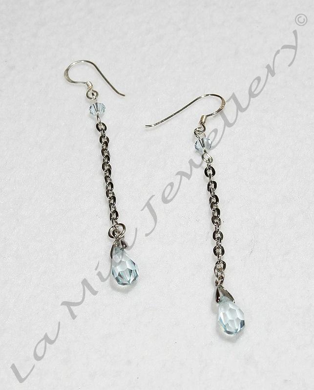 Baby Blue Swarovski Crystal Drop Earrings - Sterling Silver Hooks