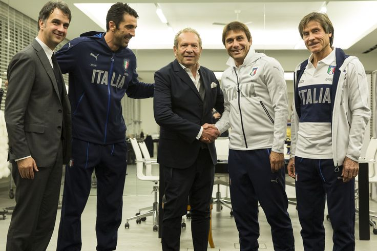 """Ermanno Scervino is the new """"Luxury partner"""" of the FIGC Nazionale Italiana di Calcio. The Maison will design the teams formal uniforms, led by head coach Antonio Conte and team captain Gianluigi Buffon, in occasion of the 2016 UEFA Champions League in France and the 2018 FIFA World Cup in Russia #ErmannoScervino"""