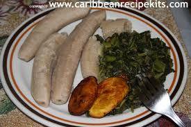 jamaican breakfast - callaloo, green banana and fried plantain