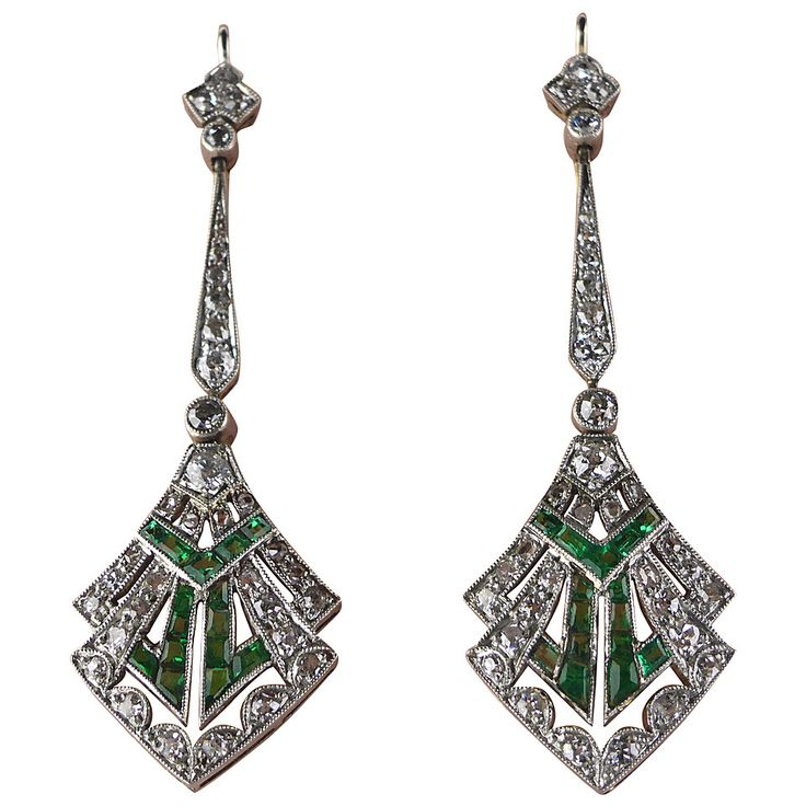 Art Deco Emerald Diamond Platinum Earrings. Diamond and emerald drop earrings set in platinum dated circa 1920 with original fitted box. c1920