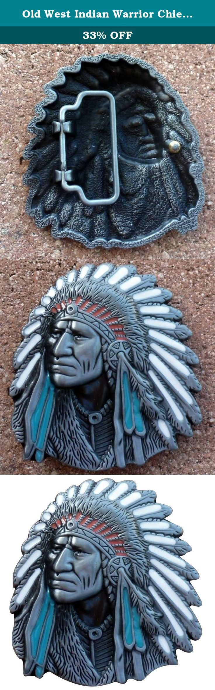 "Old West Indian Warrior Chief belt buckle biker motorcycle Native American. Old West Indian Warrior Chief belt buckle biker motorcycle Native American. suitable for 4cm ( 1.58') wide belt. buckle is roughly 3"" x 3""."