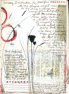A journal page by Bridgette Guerzon Mills: Art Inspiration, Journals Idea, Art Journals, Journals Savory, Digital Scrapbook, Black Flower, Journals Pages, Flower Sketch, Scrapbook Layout