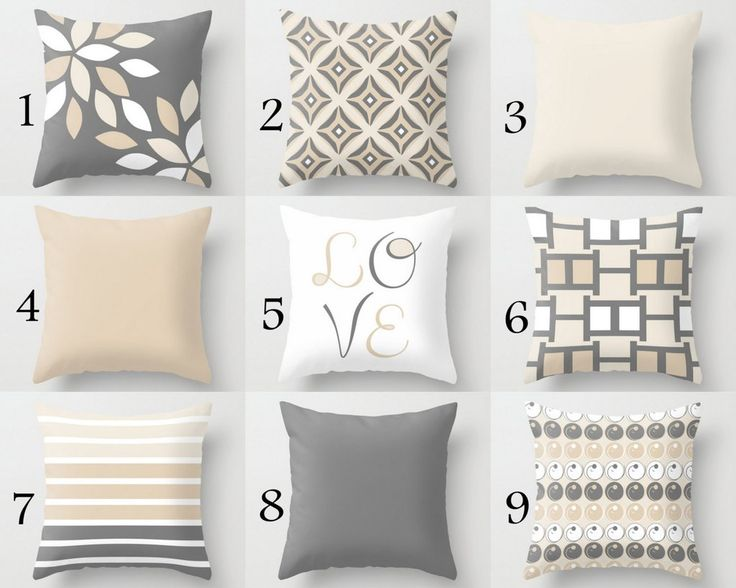 NEUTRAL Pillow Covers, Decorative Throw Pillows, Home Decor, Grey Beige, Love, Stripe, Mix and Match, Cushion Covers, Greige Decor - HLB Home Designs