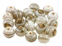 Fancy Glass Round Grey Beads 8mm,  Pack Of 50