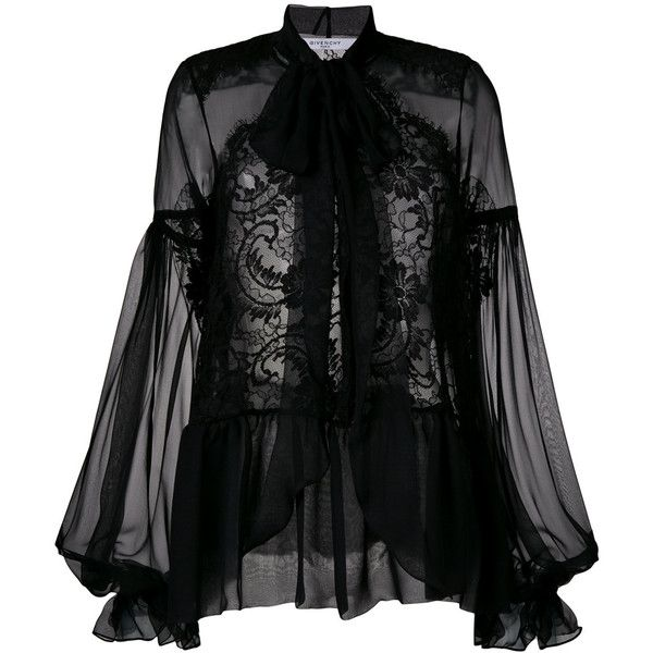 Givenchy sheer long-sleeve blouse ($2,195) ❤ liked on Polyvore featuring tops, blouses, black, ruffle long sleeve top, transparent blouse, ruffle blouse, tailoring blouse and flutter-sleeve tops