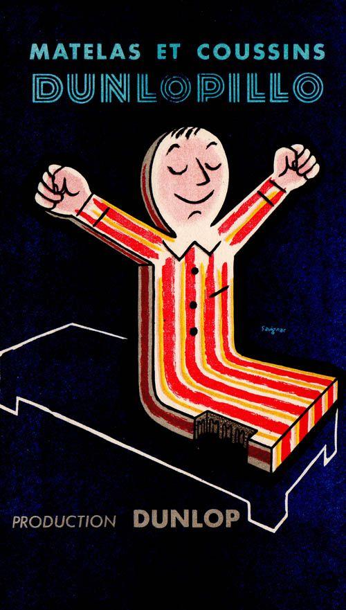 Advertisement for Dunlop natural rubber foam mattresses and pillows. Raymond Savignac