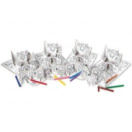 Set princesse X4 à assembler et colorier avec 12 feutres.  Kits créatifs anniversaire princesse.
