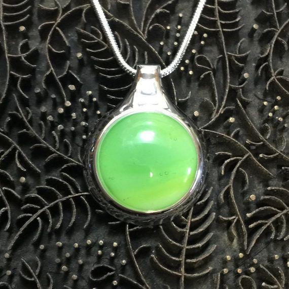 Fused Glass Pendant  Green by TrueGlassCo on Etsy