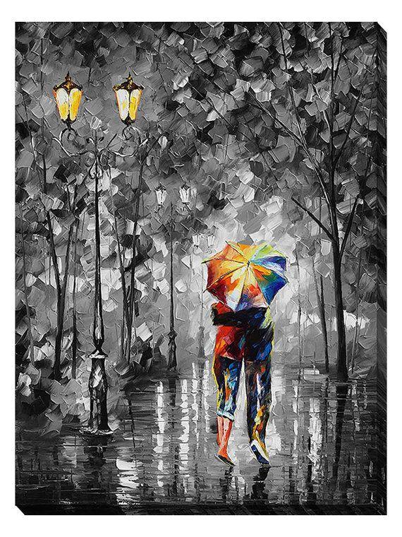 Under One Umbrella Modern Landscape Romantic by AfremovArtStudio