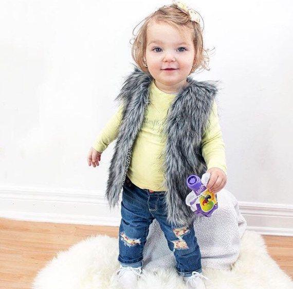 Grey/Blk Faux Fur Vest // kids vest // Toddler Vest // Vest