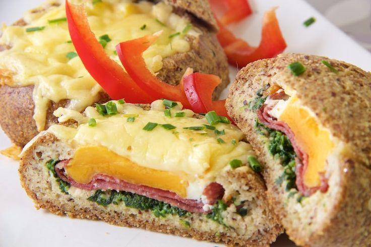 Gefüllte Brötchen zum Low Carb Frühstück (Low Carb Breakfast)
