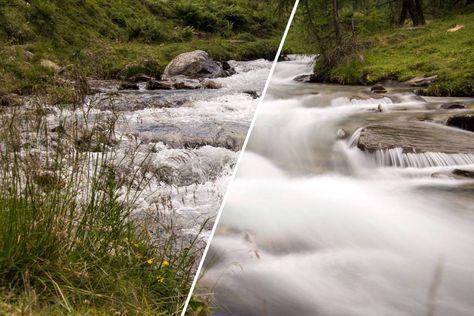 Vergleich von Aufnahmen eines Baches – Momentaufnahme und lange Belichtung - Quelle: René Gropp