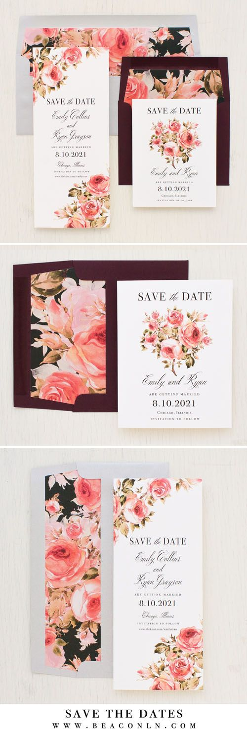 Just engaged? Set the tone with Blush Petals Save the Dates by Beacon Lane. Inspired by blush florals and calligraphy style fonts. #burgundy #wedding #savethedates #watercolor #floral #envelopeliners #calligraphy