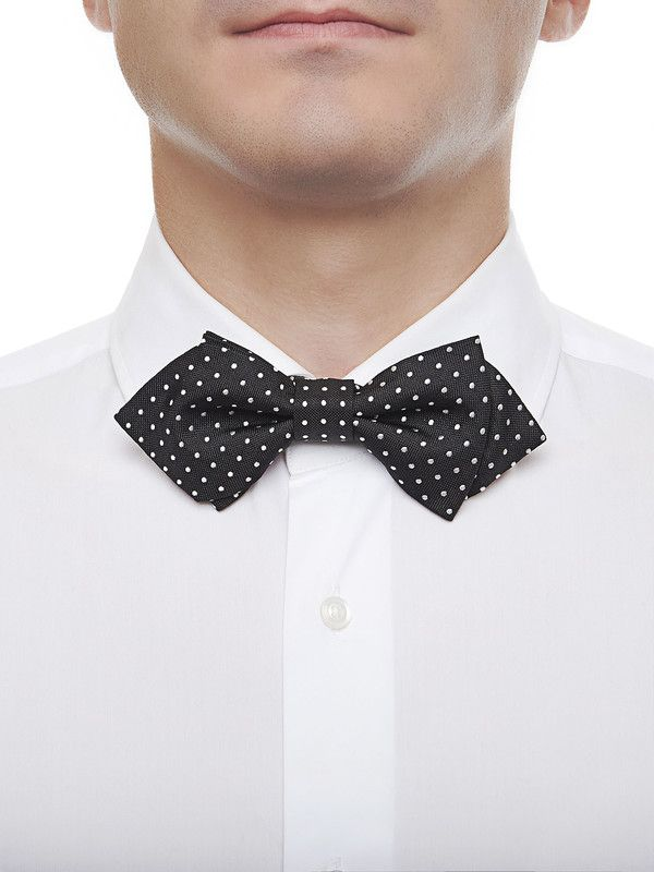 Men's black silk bow tie with white polka dots - Rosi Collection