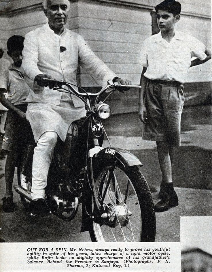From the Museum's Archival collection........Former Prime Minister Jawaharlal Nehru with his grand sons Rajiv & Sanjay Gandhi. Picture published in 1957 in Illustrated Weekly of India #incredibleindia #heritage #archivalphotographs #indiatourism #moped #vintagetransport #indiaphoto #vintage #museum #archival