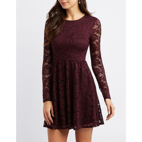 7087485ab6 Charlotte Russe Lace Scoop Neck Skater Dress ( 20) ❤ liked on Polyvore  featuring dresses
