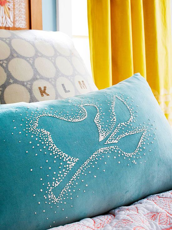 Use puffy paint to make your own customized pillow! Instructions: http://www.bhg.com/decorating/paint/projects/paint-projects-ideas-and-patterns/?socsrc=bhgpin031015puffypaintpillow