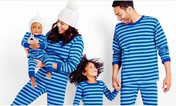 Family Christmas Pajamas Blue.Classic Stripes In Blue Organic Cotton Family Matching