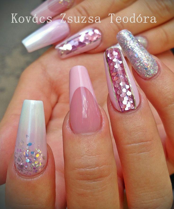 #nails #nailart #confettinails  #frenchnails #pinknails