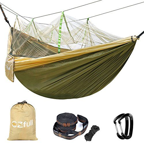 Great Camping Hammock : Double Camping Hammock With Mosquito Net EZfull  660LBS Bearing Portable Outdoor Hammocks10ft Hammock Tree Straps  12KN Carabiners For Backpacking Camping Travel Beach Yard 118L x 78WDouble Camping Hammock With Mosquito Net EZfull  660LBS Bearing Portable Outdoor Hammocks10ft Hammock Tree Straps  12KN Carabiners For Backpacking Camping Travel Beach Yard 118L x 78W >>> Click on the image for additional details. Note:It is Affiliate Link to Amazon.