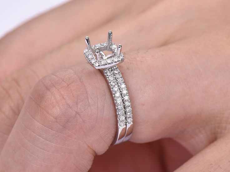 Diamond Engagement Semi Mout Ring Sets 14K White Gold Princess 5mm