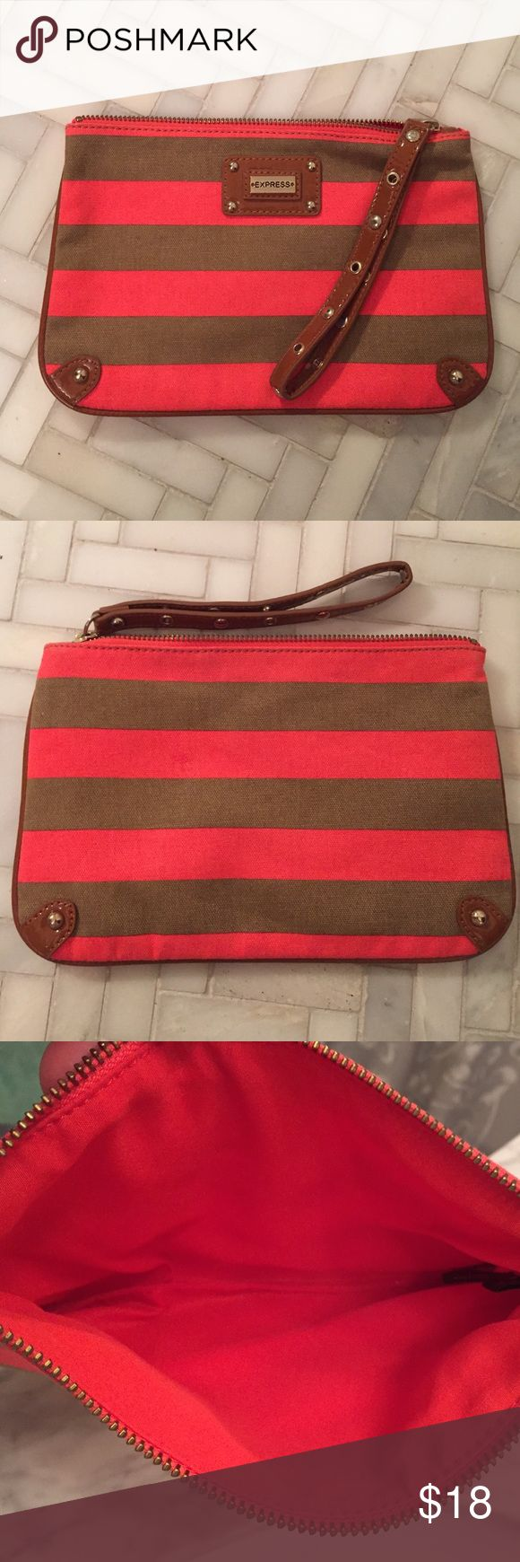 Striped Wristlet Clutch Taupe & Coral Colors are as pictured. Used around 3 times. Good as new! Bags Clutches & Wristlets
