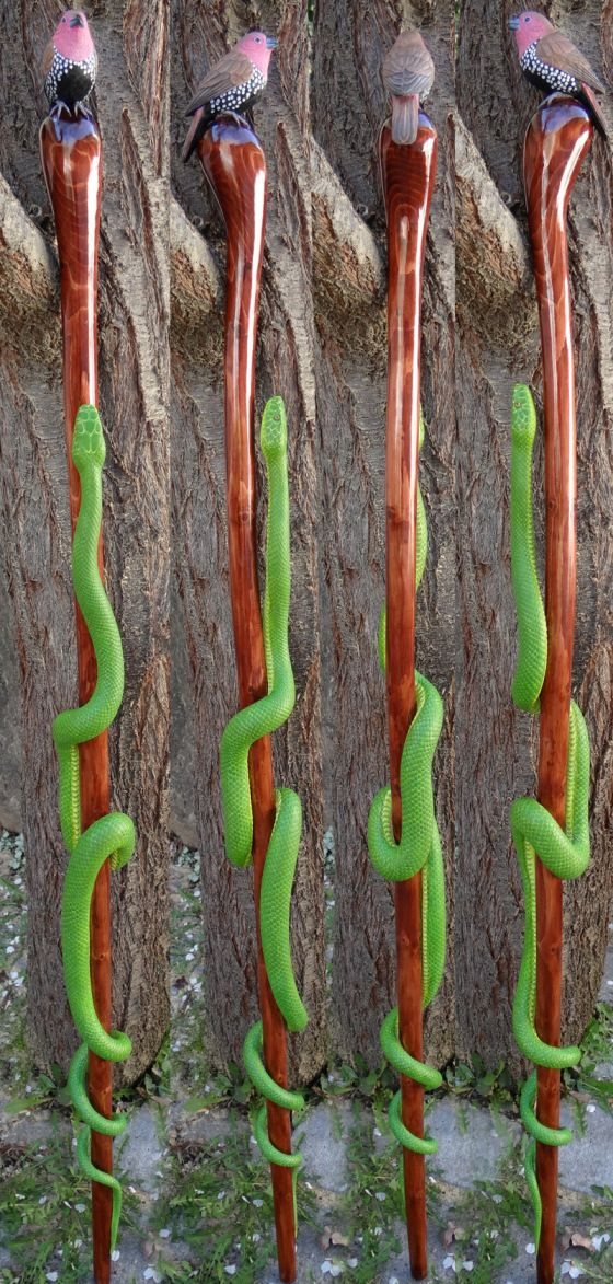 Hand carved wooden walking stick. African Green Mamba and Twin Spot, hand carved out of a single piece of wood by Mike Stinnett.