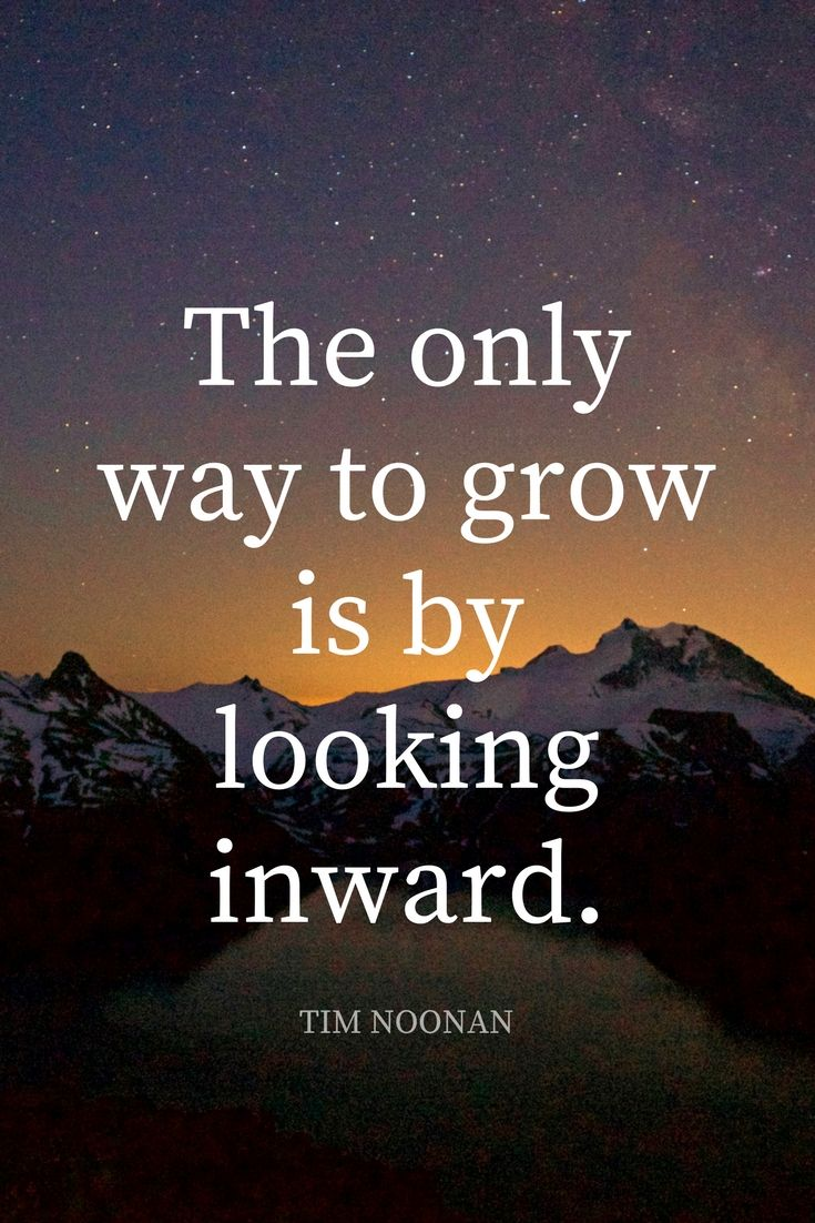 """""""The only way to grow is to look inward."""" - Filmmaker and adventurer Tim Noonan on the School of Greatness podcast"""