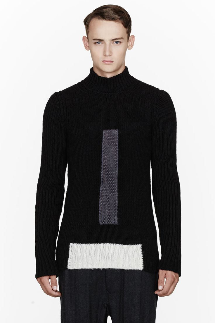 RICK OWENS Black & Grey knit colorblocked LUPETTO sweater