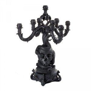 Giant Burlesque Black Skull Candelabra - Now available to order at materialrepublic.com.au #materialrepublic #seletti #homewares #interior #candle #holder #decor #skull