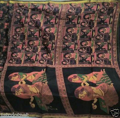 Royal Indian King Raja Rani Print Pure Silk Black Multi color Rare Sari Saree