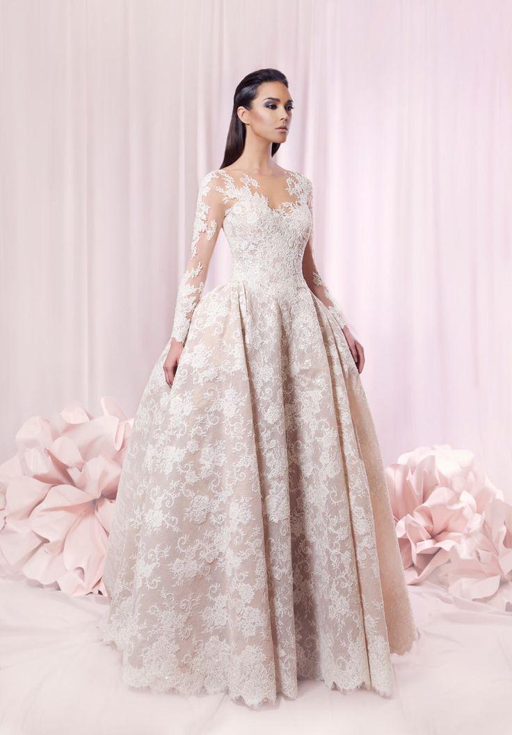 Платье-линии v-шея длинный рукав кружева наложения тюль открытое назад платье макси оптовая продажа мода платья китай гуанчжоу свадебное платье