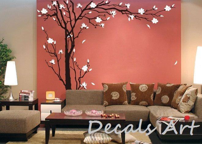 Summer Tree - Vinyl wall sticker- wall decal- tree decals- wall murals art - nursery wall decals- Tree -Nature. $79.00, via Etsy.