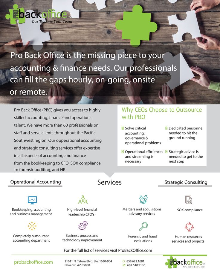 One Sheet For Accounting And Hr Outsourcing Company Pro Back Office Accounting And Finance Accounting Career Accounting