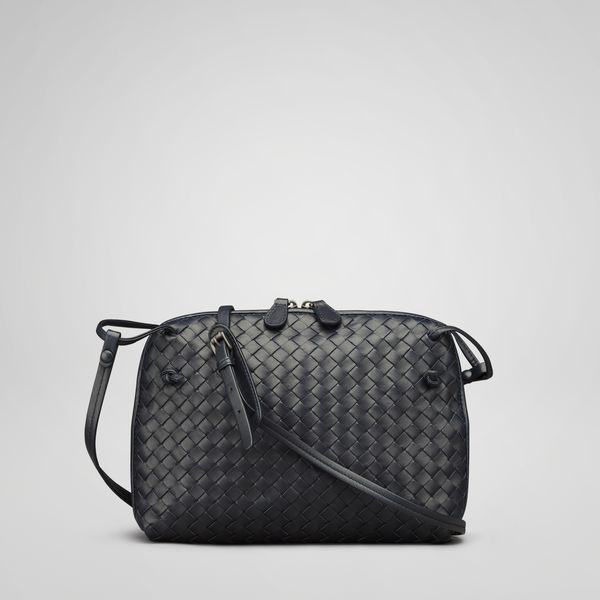 Bottega Veneta Nero Intrecciato Nappa Cross Body Bag