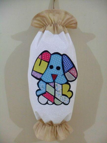 Puxa-saco em tecido 100% algodão com aplicação (pode ser com outros motivos, consulte) Sob encomenda R$ 45,00