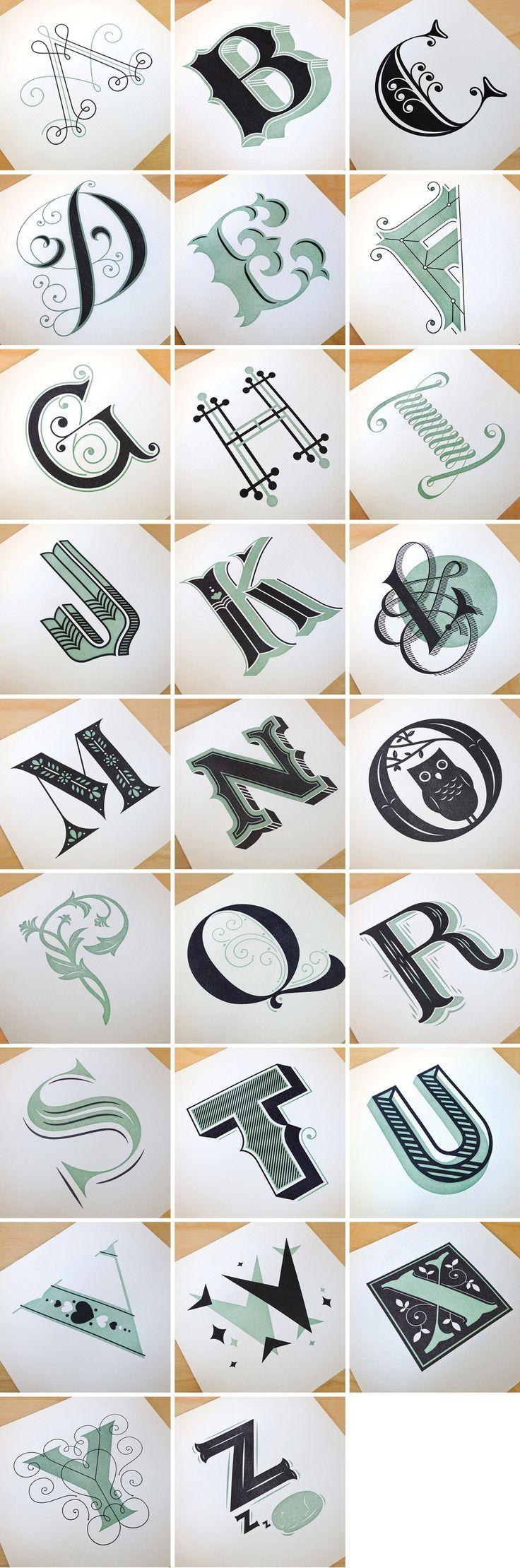 dessin, calligraphie, alphabet, différents styles, design, .... Image of Drop Cap Letterpress Prints